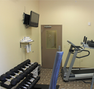 free weights and treadmill