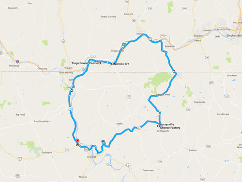 Tioga Downs Scenic Route Map