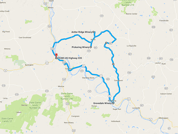Endless Mountains Wine Tour Scenic Route Map